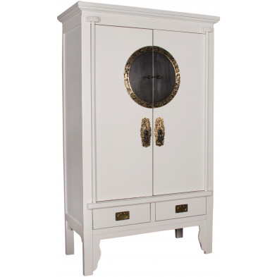Armoire de mariage chinoise 2 portes et 2 tiroirs en bois de peuplier coloris blanc L. 105 x P. 50 x H. 175 cm collection Bibon