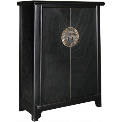 Meuble cabinet chinois 2 portes en bois de peuplier coloris noir L. 77 x P. 38 x H. 105 cm collection Bibon