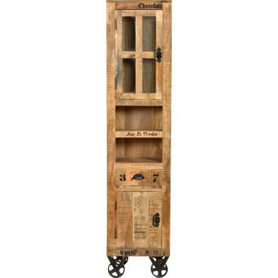 Petite vitrine en bois massif de manguier avec 2 portes et 1 tiroir coloris antique L. 44 x P. 34 x H. 191 cm collection Ronse