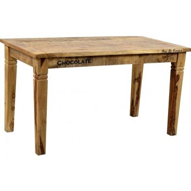 Table de salle à manger en bois massif de manguier coloris antique avec une épaisseur plateau de 20 mm L. 140 x P. 70 x H. 76 cm collection Ronse