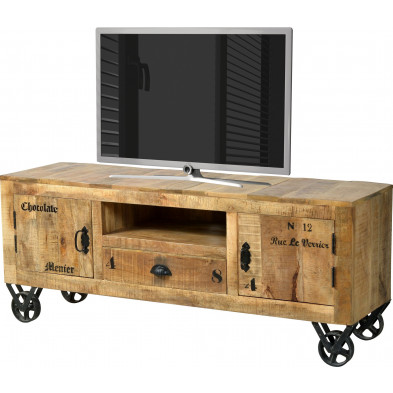 Meuble TV  en bois massif de manguier avec 2 portes, 1 tiroir et une niche ouverte coloris antique  L. 140 x P. 40 x H. 55 cm collection Ronse