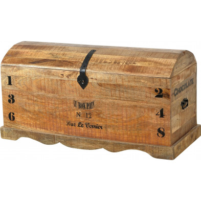 Coffre de rangement en bois massif de manguier coloris antique L. 100 x P. 43 x H. 50 cm collection Ronse