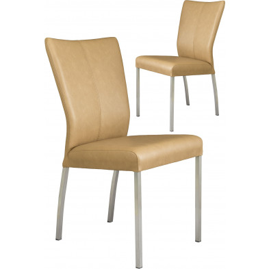 Lot de 2 chaises modernes en acier et en simili cuir coloris beige L. 46.5 x P. 53 x H. 91 cm collection Treatment