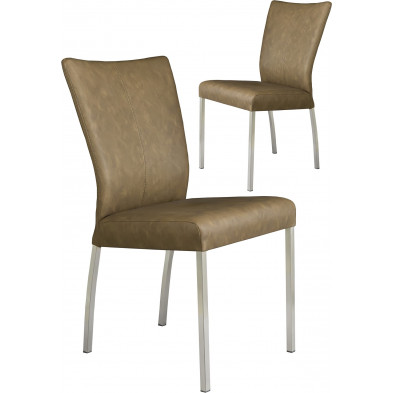 Lot de 2 chaises modernes en acier et en simili cuir coloris brun L. 46.5 x P. 53 x H. 91 cm collection Treatment