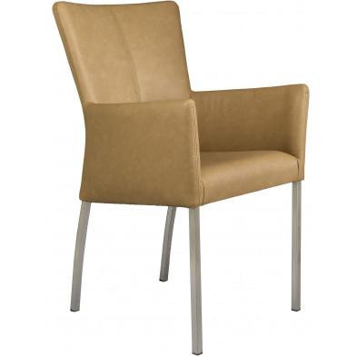 Chaise avec accoudoirs style moderne en acier et en simili cuir coloris naturel L. 56 x P. 53 x H. 91 cm collection Lasenia
