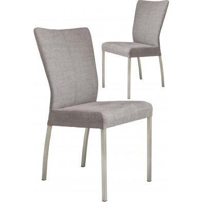 Lot de 2 chaises modernes en acier et en tissu coloris gris  L. 46.5 x P. 53 x H. 91 cm collection Treatment