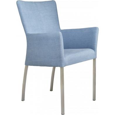 Chaise avec accoudoirs style moderne en acier et en tissu coloris bleu L. 56 x P. 53 x H. 91 cm collection Lasenia