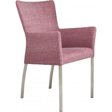Chaise avec accoudoirs style moderne en acier et en tissu coloris rose L. 56 x P. 53 x H. 91 cm collection Lasenia