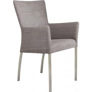 Chaise avec accoudoirs style moderne en acier et en tissu coloris gris chocolat L. 56 x P. 53 x H. 91 cm collection Lasenia