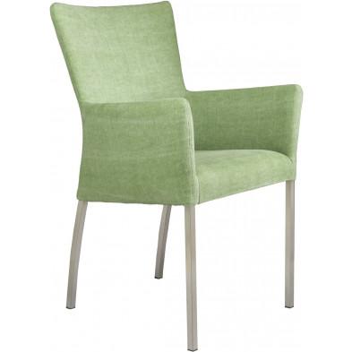 Chaise avec accoudoirs style moderne en acier et en tissu coloris vert pistache L. 56 x P. 53 x H. 91 cm collection Lasenia