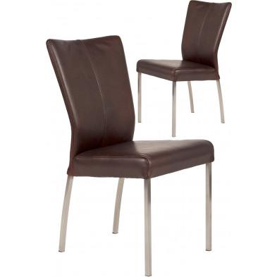 Lot de 2 chaises modernes en acier et en cuir de buffle coloris marron L. 46.5 x P. 53 x H. 91 cm collection Treatment