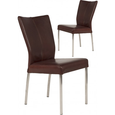 Lot de 2 chaises modernes en acier et en cuir de buffle coloris cognac L. 46.5 x P. 53 x H. 91 cm collection Treatment