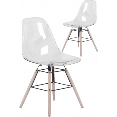 Lot de 2 chaises scandinaves en polypropylène transparent avec piétement en bois L. 51 x P. 47 x H. 83 cm collection French