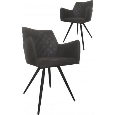 Lot de 2 chaises modernes en tissu gris antique avec piétements métalliques L. 57 x P. 59 x H. 80.5 cm collection Ogmorebysea