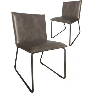 Lot de 2 chaises modernes en cuir synthétique gris antique avec piétements métalliques L. 55 x P. 50 x H. 79 cm collection Suggest