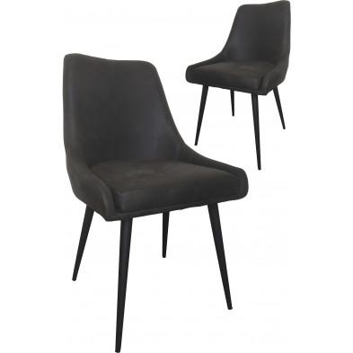Lot de 2 chaises modernes en tissu cowboy gris antique avec piétements métalliques L. 60 x P. 53 x H. 86.5 cm collection Abdifatah