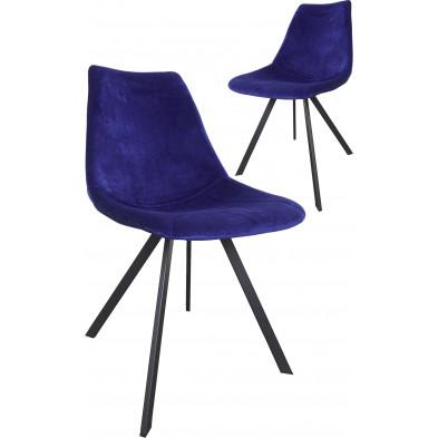 Lot de 2 chaises modernes en tissu bleu foncé avec piétements métalliques  L. 61.5 x P. 50 x H. 84.5 cm collection Slomp