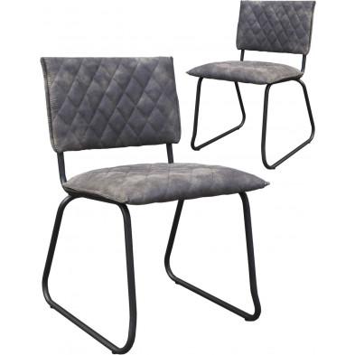 Lot de 2 chaises modernes en tissu Texas gris antique avec piétements métalliques  L. 51 x P. 57 x H. 81 cm collection Lens