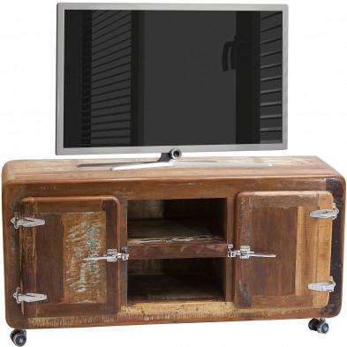 Meuble TV vintage en bois recyclé avec 2 portes et 2 compartiments ouverts coloris marron et multicolore L. 135 x P. 40 x H. 56 cm collection  Kingsnorton