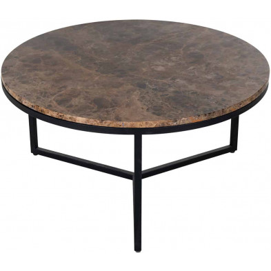 Table basse design marron industriel en acier L. 80 x P. 80 x H. 40 cm collection Orion Richmond Interiors