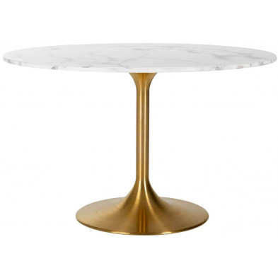 Table de salle à manger contemporaine blanc design en acier inoxydable L. 120 x P. 120 x H. 75 cm collection Piazza Richmond Interiors