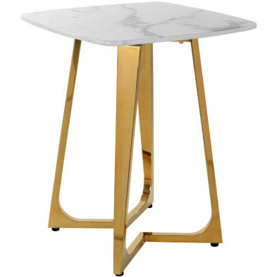 Table d'appoint blanc design en acier inoxydable L. 50 x P. 50 x H. 60 cm collection Dynasty Richmond Interiors
