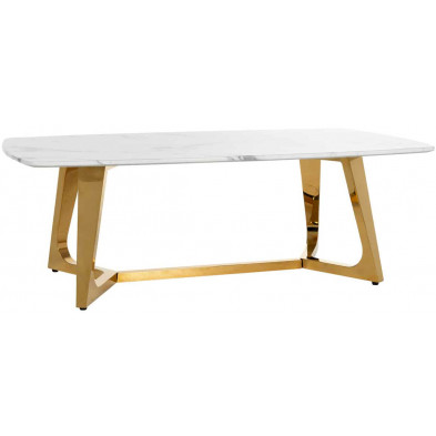 Table basse blanc design en acier inoxydable L. 127 x P. 70 x H. 43 cm  Dynasty collection Richmond Interiors