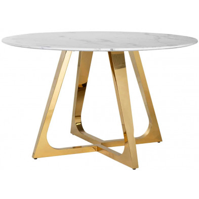 Table de salle à manger contemporaine blanc design en acier inoxydable L. 130 x P. 130 x H. 76 cm  collection Dynasty Richmond Interiors