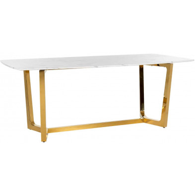 Table de salle à manger contemporaine blanc design en acier inoxydable L. 200 x P. 100 x H. 76 cm  collection Dynasty Richmond Interiors