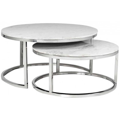 Table basse argenté design en acier inoxydable  L. 91.5 x P. 91.5 - 37 x H. 46 cm  collection Levanto Richmond Interiors