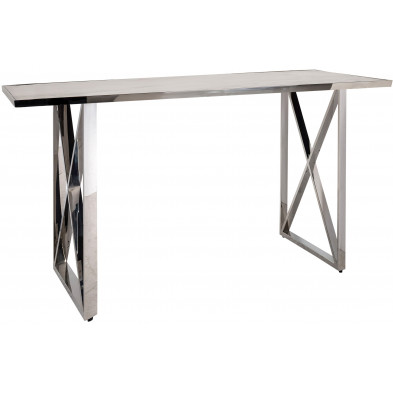 Console argenté design en acier inoxydable L. 150 x P. 40 x H. 78 cm  collection Levanto Richmond Interiors