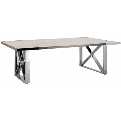 Table basse argenté design en acier inoxydable L. 130 x P. 80 x H. 45 cm collection Levanto Richmond Interiors