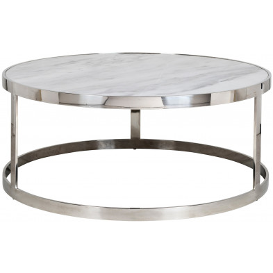 Table basse argenté design en acier inoxydable L. 95 x P. 95 x H. 40 cm collection Levanto Richmond Interiors