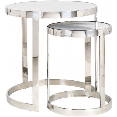 Lot de 2 Tables d'appoint argenté design en acier inoxydable  L. 60 x P. 60-50 x H. 60 cm collection Levanto Richmond Interiors