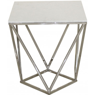 Table d'appoint argenté design en acier inoxydable L. 50 x P. 50 x H. 55 cm collection Diamond-Levanto Richmond Interiors