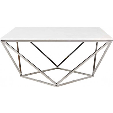 Table basse argenté design en acier inoxydable L. 90 x P. 90 x H. 43 cm collection Diamond-Levanto Richmond Interiors