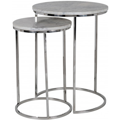 Table d'appoint argenté design en acier inoxydable L. 34 x P. 34- 57 x H. 50 cm collection Lacey Richmond Interiors