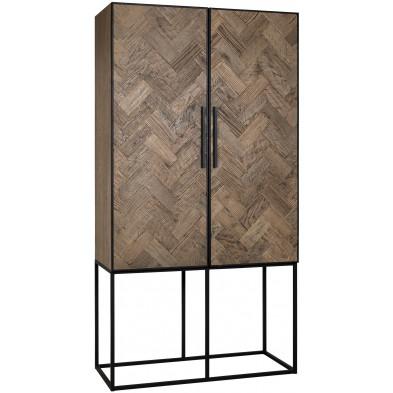 Meuble de rangement marron contemporain en acier et bois massif    L. 110 x P. 50 x H. 210 cm collection Herringbone Richmond Interiors