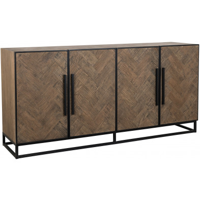 Buffet - bahut - enfilade design marron contemporain en acier et bois massif L. 180 x P. 45 x H. 86 cm collection Herringbone Richmond Interiors