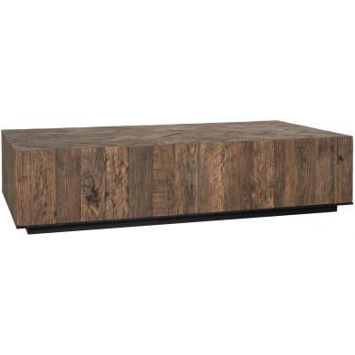 Table basse en bois marron industriel en acier et bois massif recyclé collection Herringbone Richmond Interiors