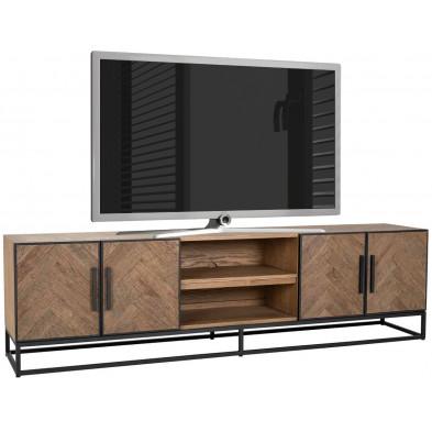 Meuble tv chêne contemporain en acier et bois massif  L. 220 x P. 43 x H. 60 cm  collection Herringbone Richmond Interiors
