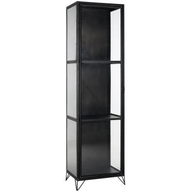 Argentier - vaisselier - vitrine design argenté moderne en acier L. 55 x P. 42 x H. 200 cm  collection Rocky Richmond Interiors
