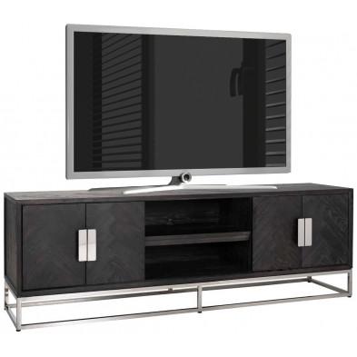 Meuble tv contemporain argenté design en acier inoxydable et bois massif  L. 220 x P. 43 x H. 60 cm collection Blackbone-Silver Richmond Interiors