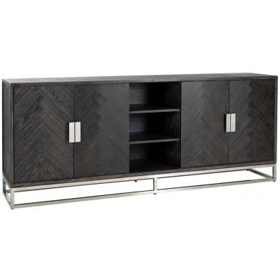 Buffet - bahut - enfilade argenté design en acier inoxydable et bois massif  L. 225 x P. 45 x H. 90 cmcollection Blackbone-Silver Richmond Interiors