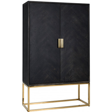 Argentier - vaisselier - vitrine  noir design en acier inoxydable et  bois massif collection Blackbone-gold Richmond Interiors