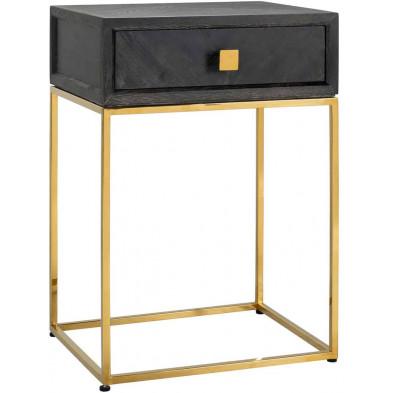 Chevet - table de nuit noir design en acier inoxydable et bois massif chêne   L. 50 x P. 40 x H. 70 cm collection Blackbone-gold Richmond Interiors