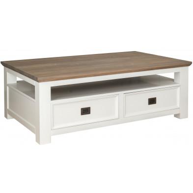 Table basse  blanc contemporain en bois massif chêne L. 130 x P. 80 x H. 45 cm collection Cardiff Richmond Interiors