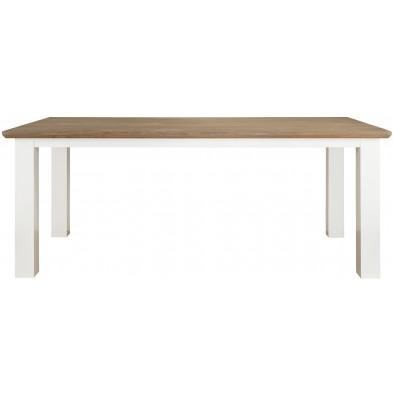 Table de salle à manger blanc contemporain en bois massif chêne et pin L. 190 x P. 90 x H. 77 cm  collection Cardiff Richmond Interiors