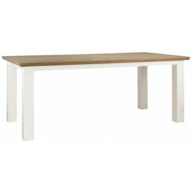 Table de salle à manger  blanc contemporain en bois massif chêne et pin  L. 220 x P. 100 x H. 77 cm  collection Cardiff Richmond Interiors
