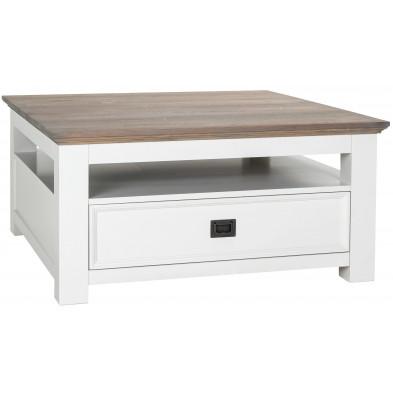 Table basse blanc contemporain en bois massif chêne et pin L. 100 x P. 100 x H. 45 cm  collection Cardiff Richmond Interiors